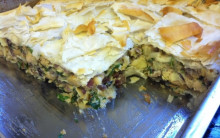 Artichoke, Butterbean Filo Pie for Caterers