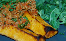 Baked Stuffed Butternut Squash with Quick Roast Red Pepper Sauce