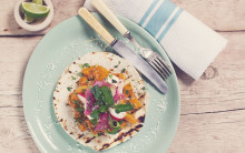 Roasted Coconut Squash Gringas with Pink Pickled Onions & Sour Creme