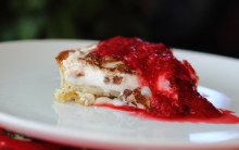 Luxury Lemon Vegan Meringue Pie with Raspberry Coulis