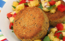 Lentil Cashew Cakes with Pineapple Salsa