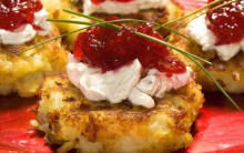 Parsnip & Potato Rosti with Vegan Cream Cheese & Cranberry