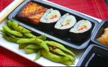 Sushi plate with Nori Rolls, Seared Tofu and Edamame