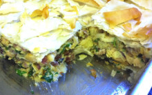 Artichoke, Butterbean & Filo Pie with Olives and Sundried Tomatoes