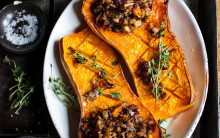 Baked Squash With Mushroom Nut Roast Stuffing