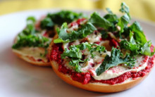 Warm Bagels with Beetroot & Olive Tapenade, Sesame & Yeast Flake Spread