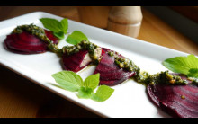 Beetroot & 'Ricotta' Ravioli with Pistachio, Mint Pesto