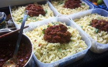 Olive, 'Chorizo' and Tomato Pasta for Caterers