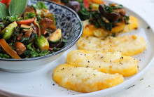 Quick Cheesy Polenta Steaks with Stir-fried Vegetables & Sage