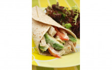Creamy Mock Chicken, Avocado & Tomato Wraps