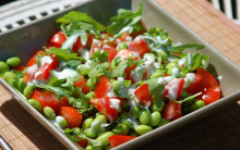 Quick Edamame Bean, Tomato & Fresh Herb Salad with Creamy Dressing & Optional Wholegrain Boost