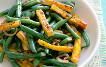 5:2 Fast Diet - Green Beans, Spring Onions & Garlic Tofu with Soya-Chilli Dressing