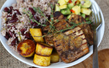 Jerk Tofu with Rice & Peas