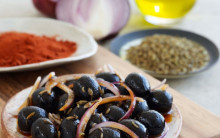 Spanish olives marinated in paprika, red onion and fennel seeds