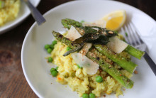 Asparagus, Pea & Lemon Risotto (with sage crisps & toasted almonds)