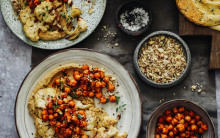 Roast Cauliflower, Baba Ganoush, Spiced Harissa Chickpeas & Dukka