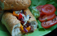 Roasted Red Pepper Baguettes with Red Onion and Vegan Blue Cheese
