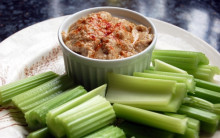 Roasted Walnut and Garlic Dip with Celery Sticks