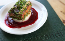 Sweet Tofu, Braised Daikon & Beetroot Cream