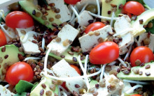 Smoked Tofu, Puy Lentil & Spinach Salad with Apple & Tamari Dressing