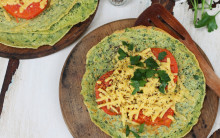 Savoury Pancake with Spinach Batter & Tomatoes, Convenience-style