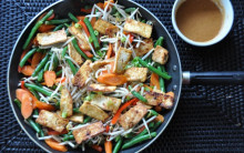 Almost Instant Veg & Tofu Stir-fry with Creamy Tahini Mustard Sauce