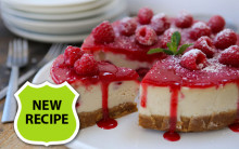 Vegan White Chocolate & Raspberry Baked Cheesecake