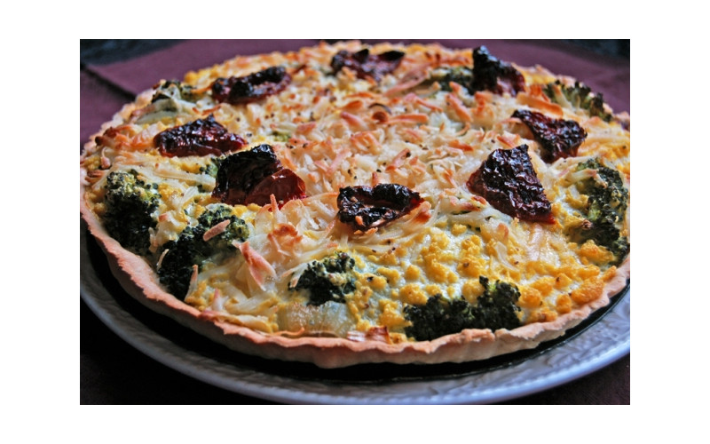 Broccoli Quiche made using The Vegg and Vegusto's No Moo Classic cheese