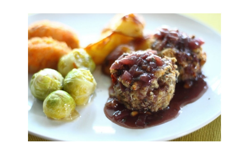 Cashew Nut Roast with a Choice of Two Stuffings & Red Wine Gravy