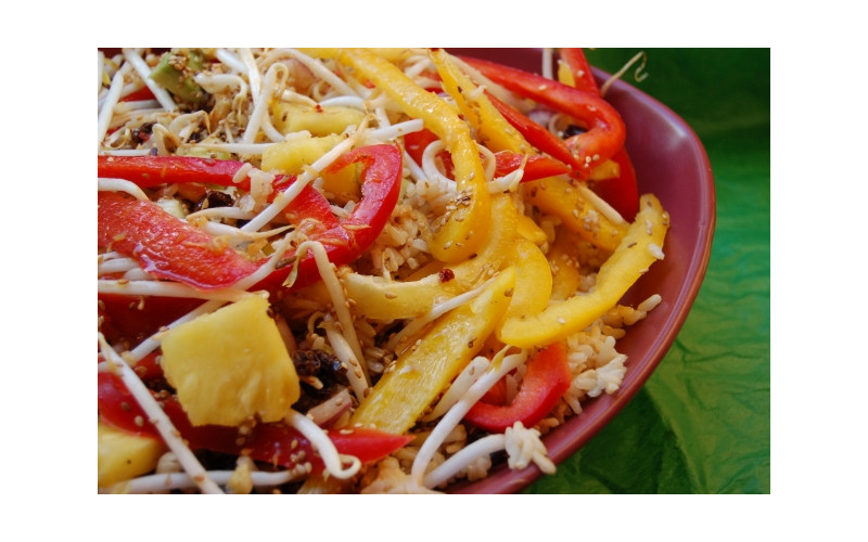 Tropical Rice Salad with Sesame Orange Dressing