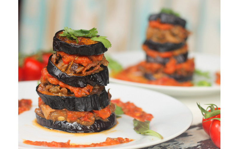 Aubergine Towers & Roast Tomato Sauce