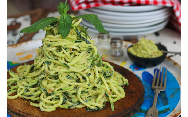 Quick Avocado, Lemon & Basil Pesto with Raw or Cooked Noodles