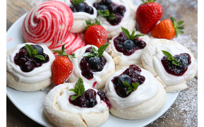 Blueberry & Whipped Cream Aquafaba Meringue Nests