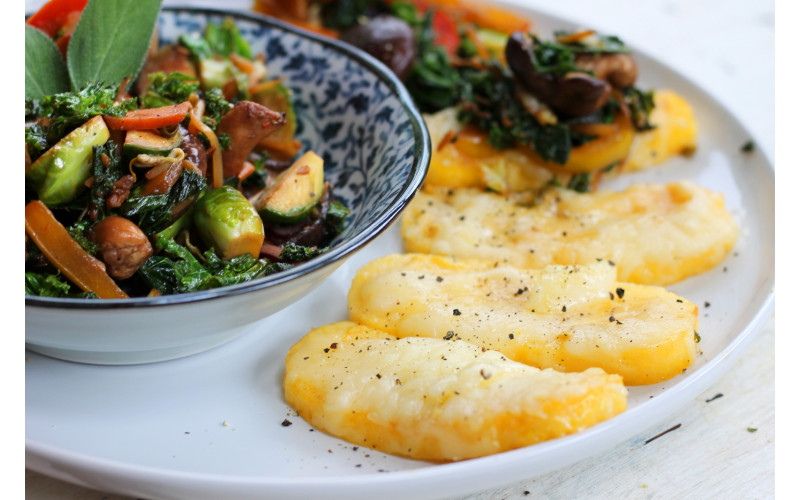 Cheesy Polenta Slices with Stir-fried Brussels Sprouts, Wild Mushrooms & Sage