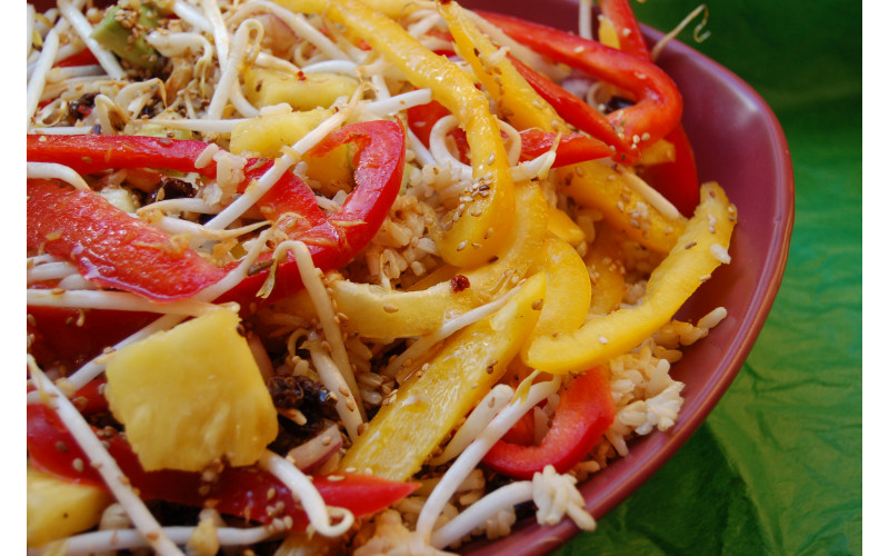 Tropical Rice Salad with Sesame Orange Dressing for Caterers