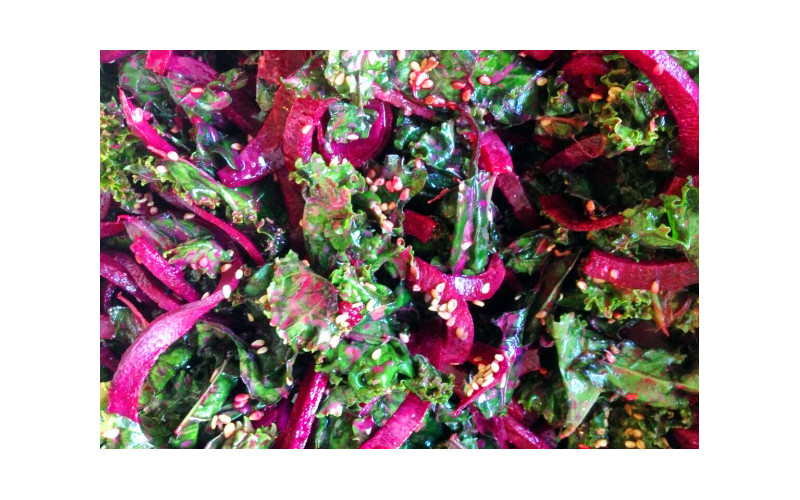 Raw Kale & Spiralised Beetroot Salad with Tahini & Tamari Marinade