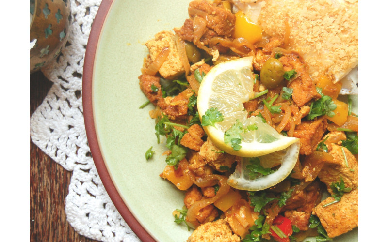 Moroccan Tofu Tagine with Peppers and Olives