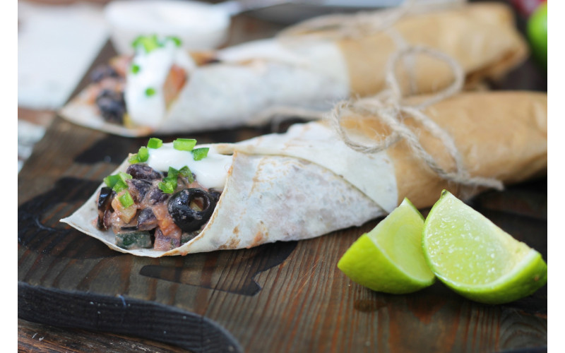 Quick & Easy Black Bean, Courgette & Olive Chilli Wraps