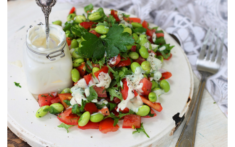 Quick Edamame Bean, Tomato & Fresh Herb Salad with Creamy Dressing
