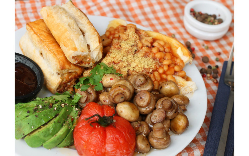Sausage Rolls with baked beans & salad