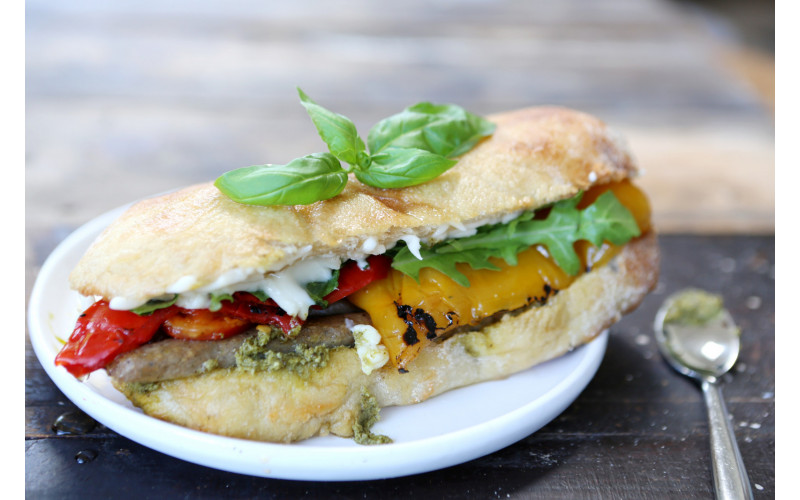 Monster 'Sausage', Cheese, Pesto & Roasted Pepper Sandwich