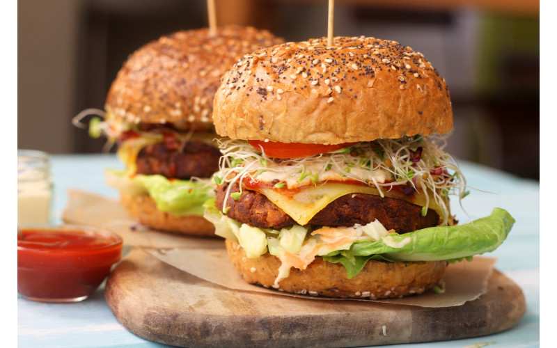 Tofu Burger with Wedges & Salad, Convenience-style