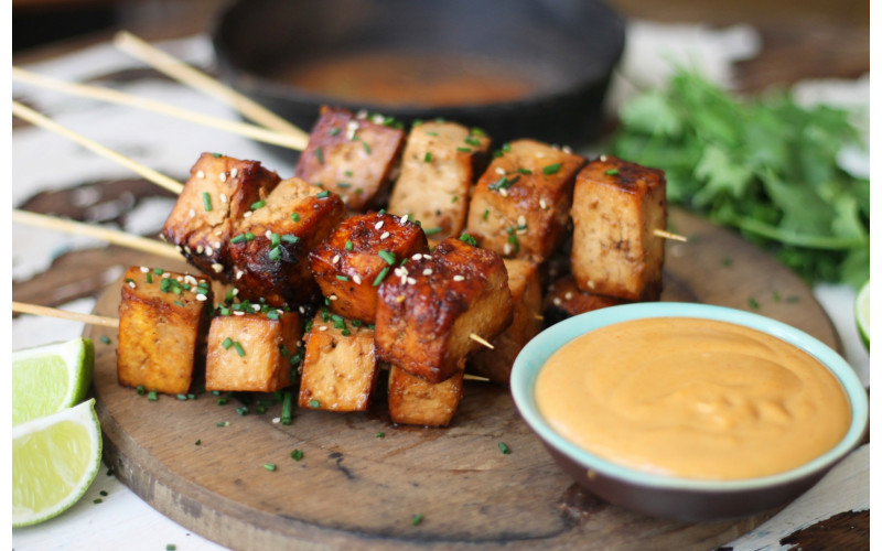 Roasted Tofu with Satay Sauce