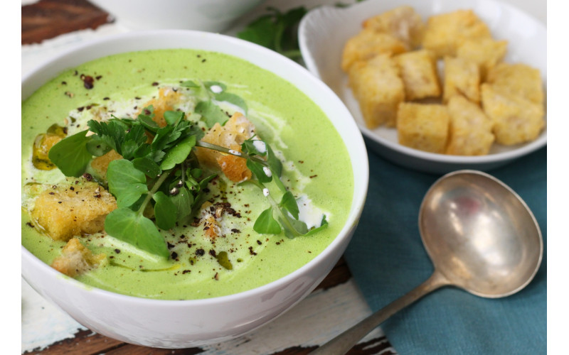 Quick Vegan Cream of Watercress Soup