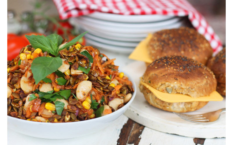 White Bean, Sweetcorn & Carrot Salad with Tomato Herb Dressing