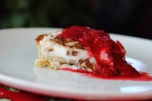 Luxury Lemon Vegan Meringue Pie with Raspberry Coulis