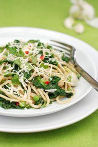 Spinach & Pea Super-fast Spaghetti