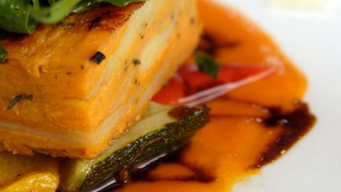 Sweet Potato Gratin with Red Pepper Dressing