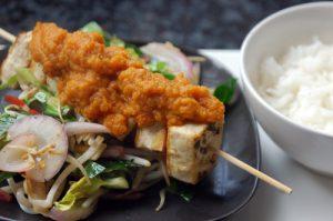 Tofu Kebabs with Fresh Sweet & Sour Sauce