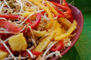 Tropical Rice Salad with Sesame Orange Dressing